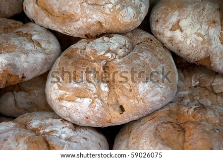 Spanish bread ready to be sold in the market