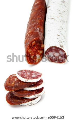 spanish chorizo and salami  on a white background