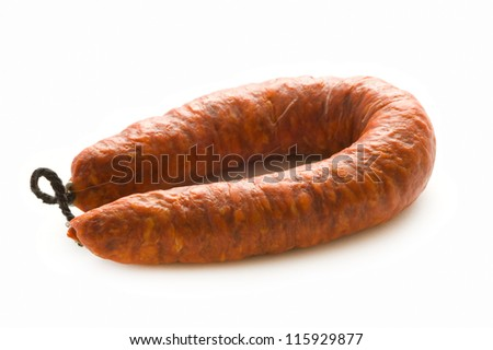 spanish chorizo preserved pork sausage isolated on a white background