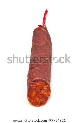 Spanish Chorizo sausage isolated on a white studio background. - stock photo