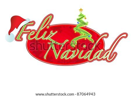 Spanish Christmas sign illustration design Feliz Navidad