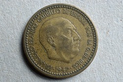 Spanish coin from 1947 with the image of Franco