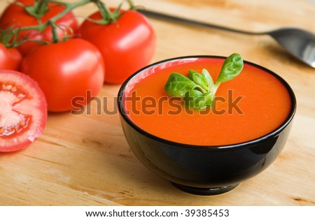Spanish cold tomato-based soup gazpacho, originating in the southern region of Andalusia