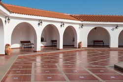 Spanish Colonial architecture style Terrace of the Ralli Museum, the private conglomerate of two art museums under same name in Caesarea, Israel.