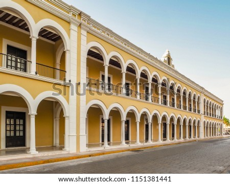 Spanish colonial style building in Mexico #1151381441