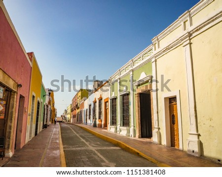 Spanish colonial style buildings in Mexico #1151381408