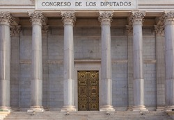 Spanish Congress of Deputies Building. Columns. Madrid, Spain