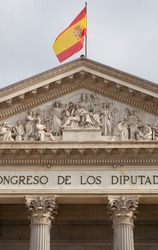 Spanish Congress of Deputies Building. Tympanon. Madrid, Spain