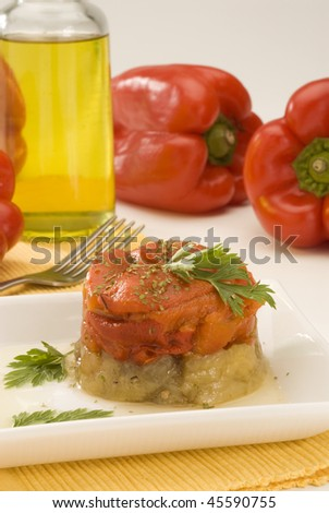 Spanish cuisine. Roasted pepper and eggplant salad Catalonian style. Escalivada catalana.Selective focus.