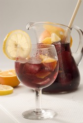 Spanish cuisine. Sangria. Red wine punch served in a glass. Selective focus.
