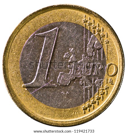Spanish 1 Euro Coin Reverse Side with a Golden Ring Isolated