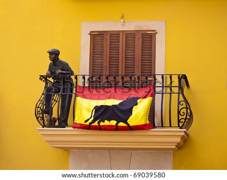 Spanish flag in a balcony