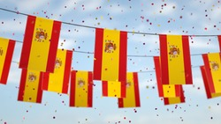 Spanish flags in the sky with confetti.