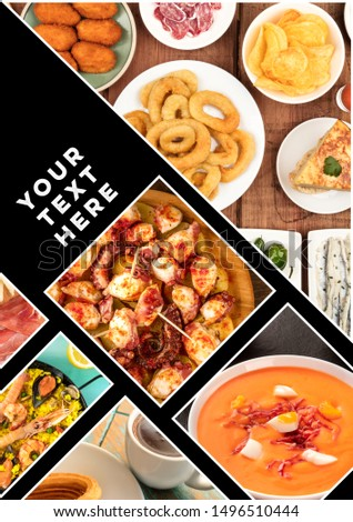 Spanish Food Collage design for a banner, restaurant menu, or cookbook cover, with a place for text or logo