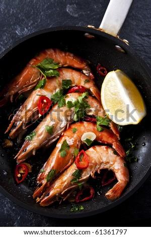 Spanish fried chilli shrimp tapas