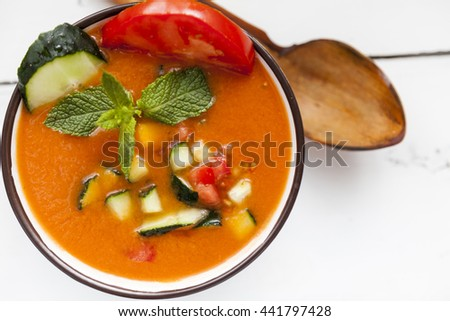 Spanish Gazpacho, cold and refreshing tomato soup,from above #441797428