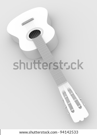 Spanish guitar from a perspective view. 3d illustration