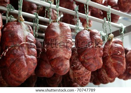 Spanish ham cellar. Spanish sausages