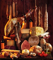 Spanish Iberian sausages Still life