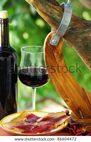 Spanish Jamon  and red wine.