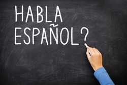 Spanish language learning concept image. Teacher or student writing