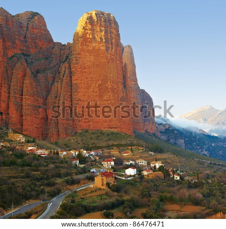 Spanish Medieval Village at the Foot of the Rocks in the Pyrenees, Sunset