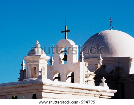 Spanish mission called White Dove of the Desert, near Tucson Arizona