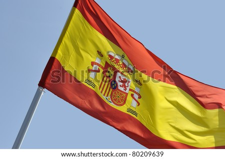 Spanish national flag moving in the wind