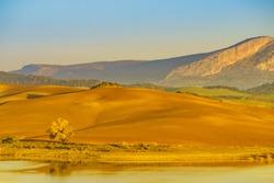 Spanish nature landscape. Lake Embalse del Guadalhorce and surrounding countryside, Ardales Reservoir, Malaga Andalusia, Spain