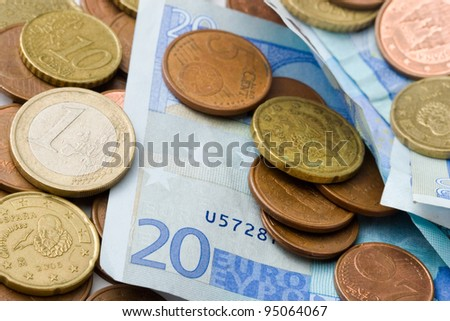 spanish official currency, euro coins and banknotes