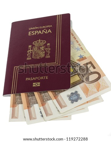 Spanish Passport with 50 curency euro on white background.