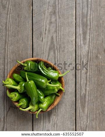 Shutterstock Spanish Peppers. Pimientos de Padron. Copy Space.