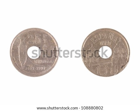 Spanish pesetas (pre-euro coin)