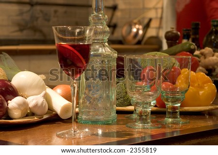 Spanish restaurant still with Sangria and vegetables