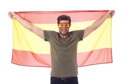 Spanish soccer fan waving a flag