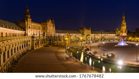 Spanish Square - A panoramic view of Spanish Square - Plaza de España, illuminated by many bright lights right after sunset. Seville. Andalusia, Spain. Foto stock ©