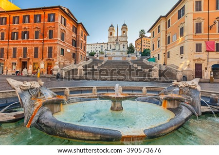 Spanish Steps at morning in Rome, Italy