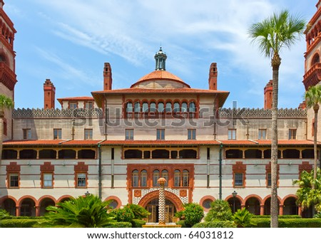 Spanish style historic building against a cloudy blue sky  in St. Augustine, Florida