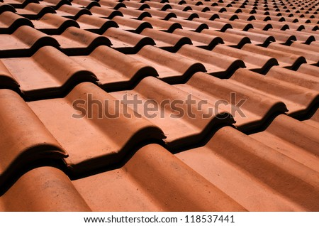 Spanish tile roof. Abstract background texture Mediterranean architectural details. #118537441