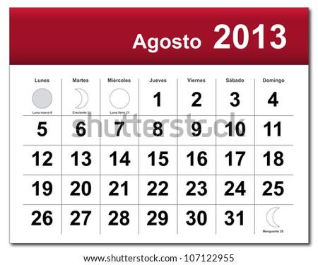 Spanish version of August 2013 calendar. Calendario de Agosto de 2013