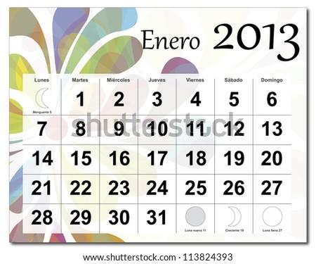 Spanish version of January 2013 calendar. Beautiful and colorful design over white. Vector version is in my portfolio.  Calendario de Enero de 2013