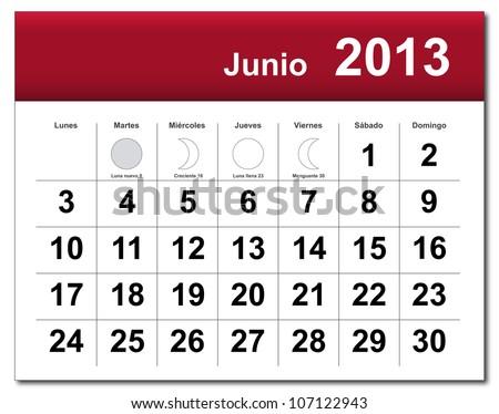 Spanish version of June 2013 calendar. Calendario de Junio de 2013.