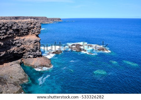Spanish View Landscape in Fuerteventura Tropical Volcanic Canary Islands Spain #533326282