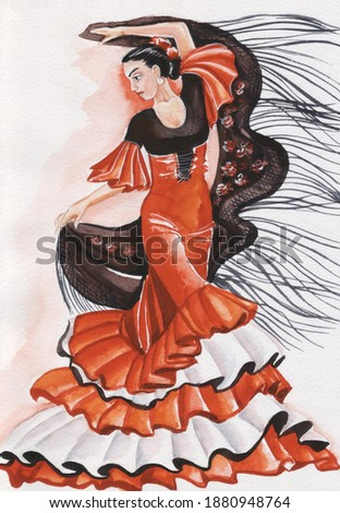 Spanish woman dance flamenco passion watercolor Spain people isolated on white Foto stock ©