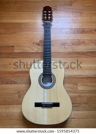 Spanish wooden classic guitar for music