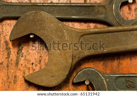 spanner closeup on wooden board