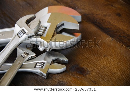 Spanner or adjustable wrench on wooden back ground, Basic hand tools.