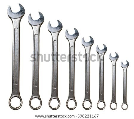 Spanner Set Isolated. Silver coloured spanners lying side by side in white background.