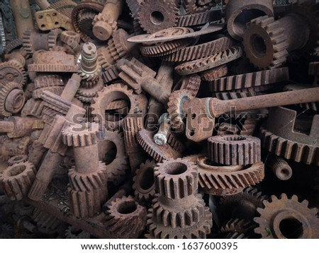 spare parts and rusty parts on shelves