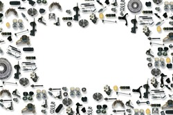 Spare parts car on the white background set. Frame for advertising and assembled from auto parts, spare parts. Many auto parts are located on the edge of the image. OEM parts, auto parts for customer.
